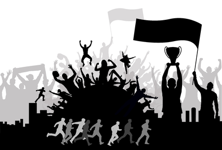 Champ with cheering crowd, silhouette background vector illustration