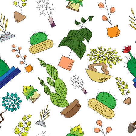 Seamless texture of houseplants Vector illustration. Ilustração