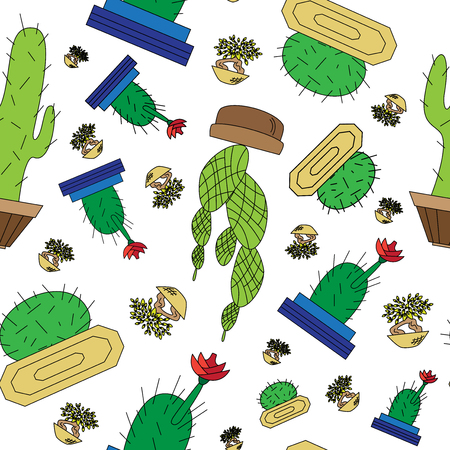 Seamless icons home of the cactuses