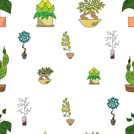Seamless texture of houseplants