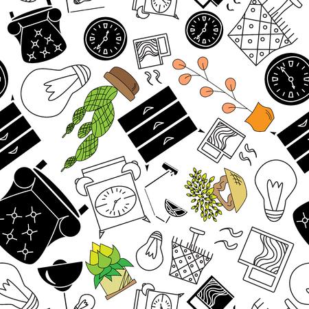 Seamless texture of accessories for home interior Ilustração