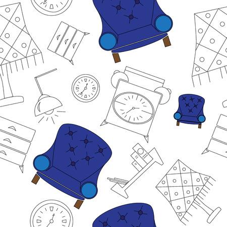家具アイコンシームレスパターンベクトルイラスト。