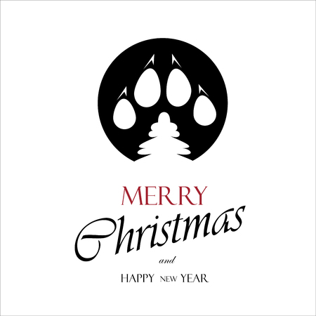 Christmas cards 2018 per year dog Vettoriali