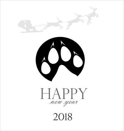 Christmas cards 2018 per year dog Ilustração