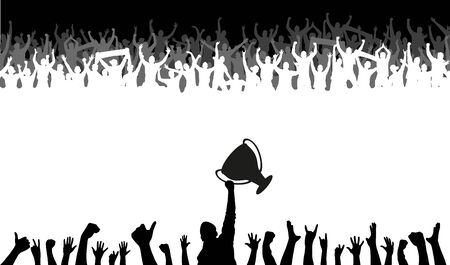 Cheering people with champion Cup Vector Illustration