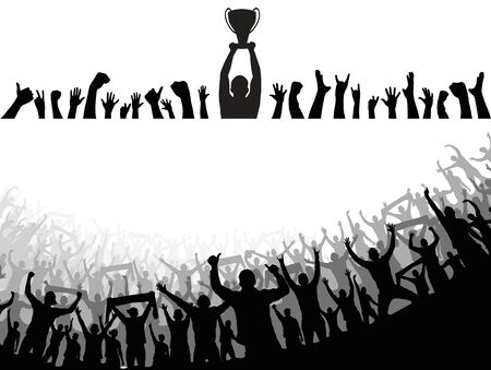 Champion cup european world and crowd many people entertain event playing and happy dancing from party in arena Vector illustration