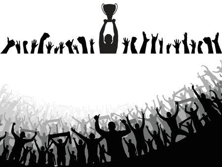 Champion Cup European World und Crowd viele Leute unterhalten das Event-Spiel und das fröhliche Tanzen von der Party in der Arena Vector Illustration