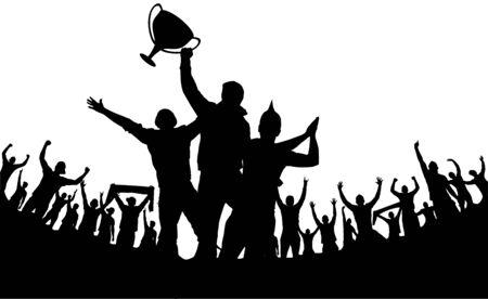 Champion du monde européen et foule de nombreuses personnes divertissent l'événement en jouant et en dansant joyeusement de la fête dans le stade Illustration vectorielle