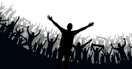 Crowd of fans. Happy people have fun celebrating. Thumbs up. Group of friends.A crowd of cheerful people at a party, holiday.The applause of the people, hands up.Silhouette Of A Vector Illustration