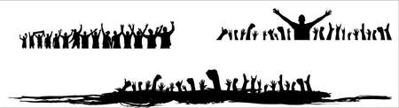 Crowd of fans. Happy people have fun celebrating. Thumbs up. Group of friends.A crowd of cheerful people at a party, holiday.The applause of the people, hands up.Silhouette Of A Vector Illustration Ilustración de vector