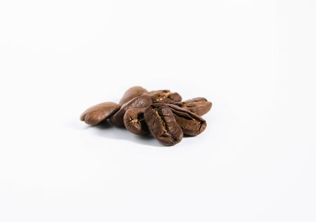 isolate, closeup coffee beans on a white background