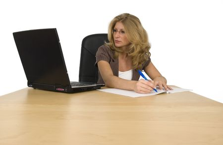 A woman works in the office. photo