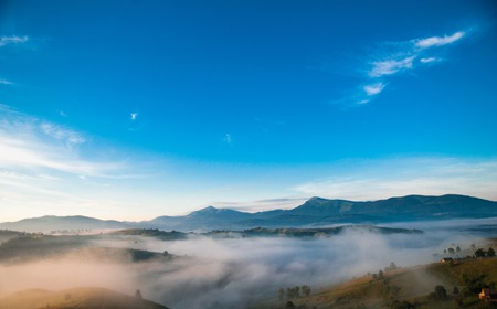 mistic: Mistic fog in the mountains, Carpathian, Ukraine Stock Photo
