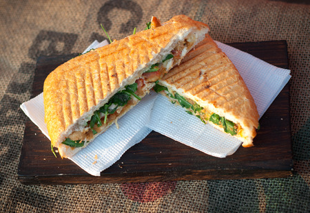 ciabatta sandwich with chicken. Stock Photo
