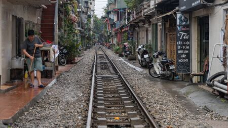 Life of people who live near the railway in Hanoi ancient town