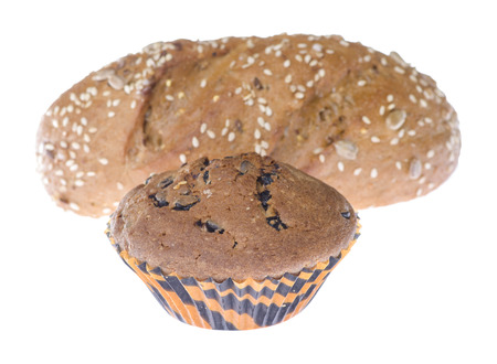 bap: chocolate muffin and loaf isolated on white background Stock Photo