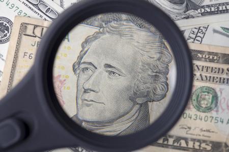 alexander hamilton: Alexander Hamilton su dieci dollaro degli Stati Uniti come sfondo Archivio Fotografico