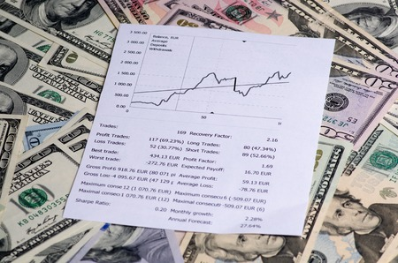 ganancias: las ganancias de la negociación en la tendencia .upward bolsa de valores. Foto de archivo