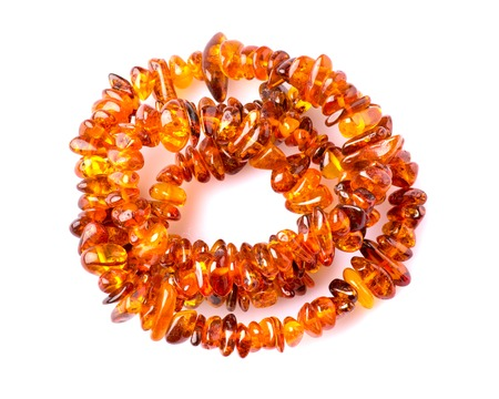 amber beads isolated on white background . Banco de Imagens