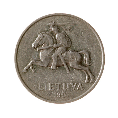 five cents: five cents coin Lithuania isolated on white background. top view.avers
