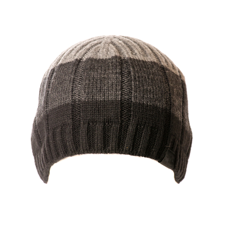 knitten: knitted hat isolated on white background . Stock Photo