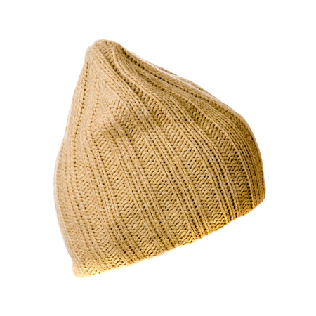 knitten: knitted hat isolated on white background .side view Stock Photo