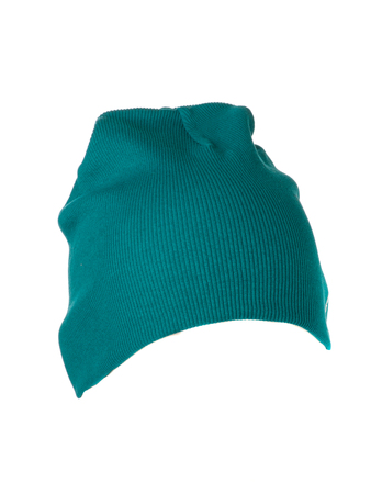 knitten: knitted hat isolated on white background .front view Stock Photo