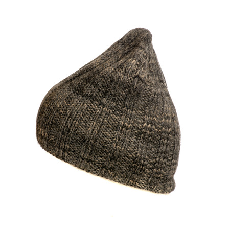 knitten: knitted hat isolated on white background  side view Stock Photo