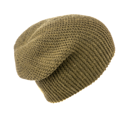 light brown: knitted hat isolated on white background .light brown Stock Photo