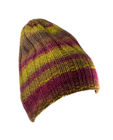 multicoloured: knitted hat isolated on white background .multicoloured