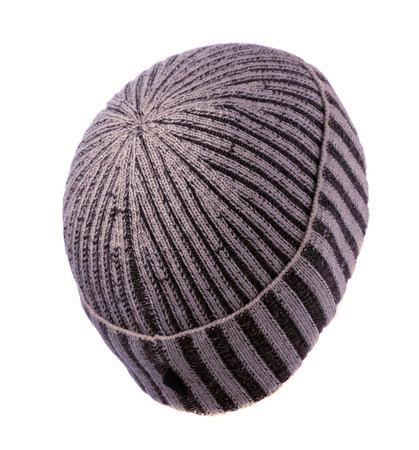 beanie: knitted beanie  isolated on white background . Stock Photo