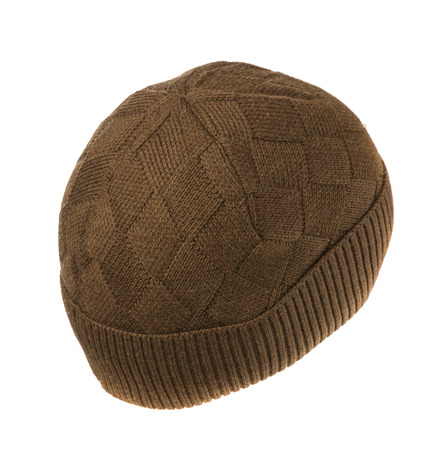 beanie: brown knitted beanie  isolated on white background .