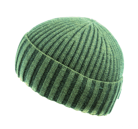 green knitted beanie  isolated on white background . Stock Photo