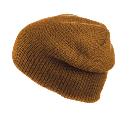 beanie: sand knitted beanie  isolated on white background .