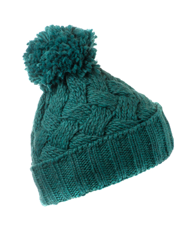 knitted hat isolated on white background .turquoise