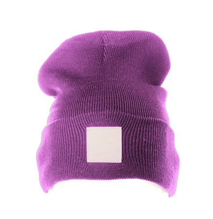 warm clothes: knitted hat isolated on white background .purple.