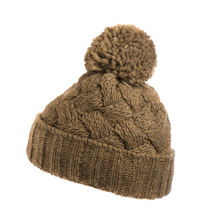 wools: knitted hat isolated on white background . Stock Photo