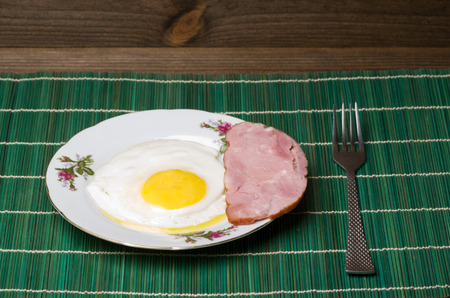 sunny side:  fried eggs sunny side up on a plate on a wooden background. Stock Photo