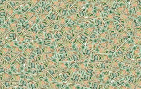 signo de pesos: Muchos billetes de cinco pesos Filipinas en el fondo.