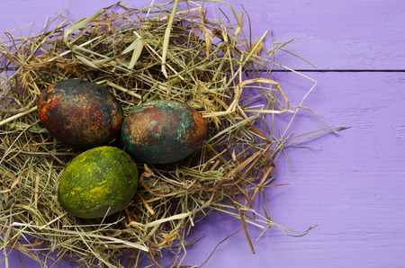 animal  bird: Easter eggs in the nest on wooden background.Rustic style.Top view. Free space for text.