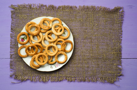bublik: bagels on a wooden table. Rustic style. Top view. Free space for text. Stock Photo