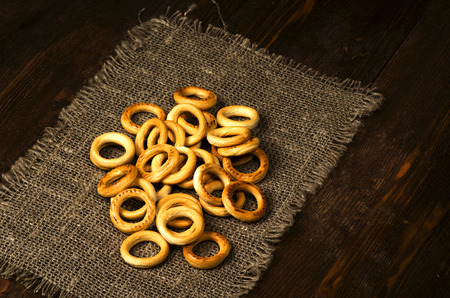 bublik: bagels on a wooden table. Rustic style.Free space for text.