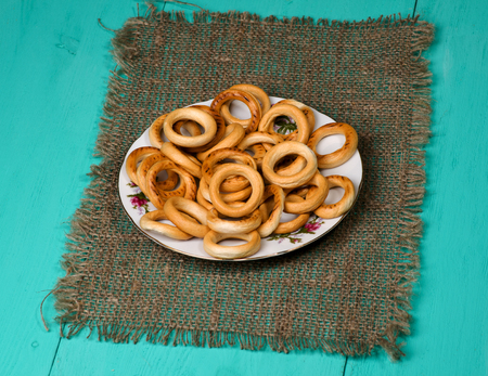 bublik: bagels on a wooden table. Rustic style. Free space for text. Stock Photo