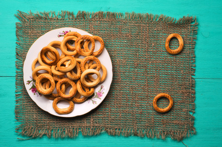 bublik: bagels on a wooden table. Rustic style.Top view. Free space for text.