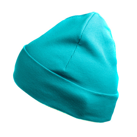 beanie: knitted  beanie    isolated on white background .turquoise