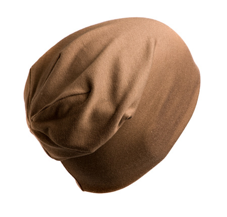 brownish: knitted hat isolated on white background . brownish