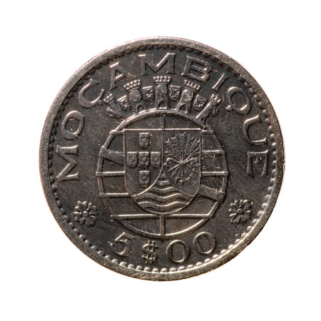 numismatic: metal coins 5 Escudo (Portuguese overseas province of Mozambique) isolated on white background .revers Stock Photo