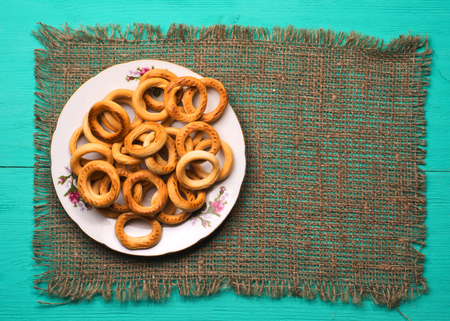 bublik: bagels on a wooden table. Rustic style.  Top view. Free space for text.