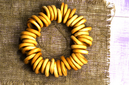 bublik: bagels on a wooden table. Rustic style.  Top view. Stock Photo