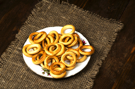 bublik: bagels on a wooden table. Rustic style. Stock Photo